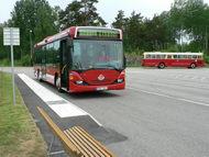 Tesztpályán a stockholmi tömegközlekedési vállalat etanolüzemű busza