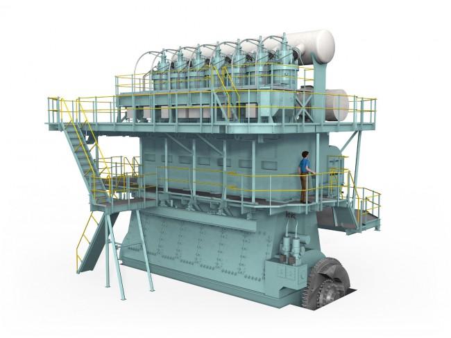 A nagy tengerjárók óriás dízeljei is kétüteműek, a képen a finn Wärtsilä motorja, több mint 25 000 LE-s, csúcsfordulatszáma 100/min