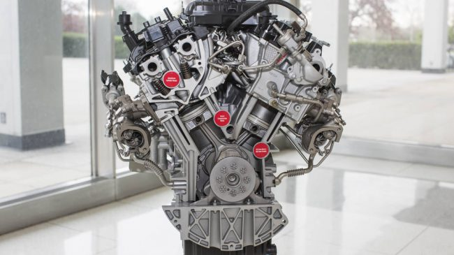 3.5 liter EcoBoost engine close up